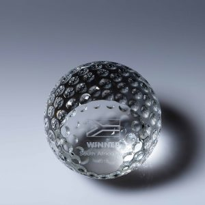 Golf Crystal Paperweight 80mm