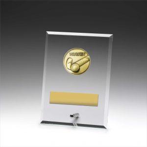 Glass Plaque Hockey 175mm