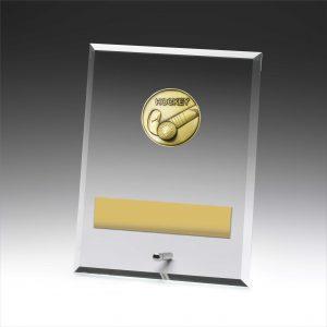 Glass Plaque Hockey 200mm
