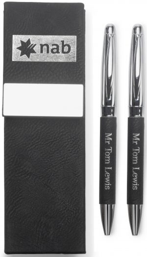 Leatherette Pen Gift Set - Double