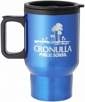 Laserable Blue Travel Mug with Handle 470ml