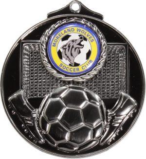 Soccer Medal 25mm Silver