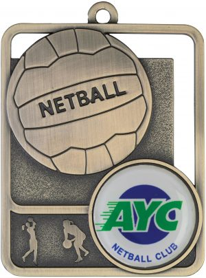 Netball Medal Rosetta Option Gold