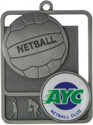 Netball Medal Rosetta Option Silver