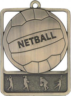Netball Medal Rosetta Gold