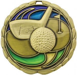 Golf Stained Glass Gold