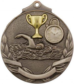 Swim Two Tone Medal Silver